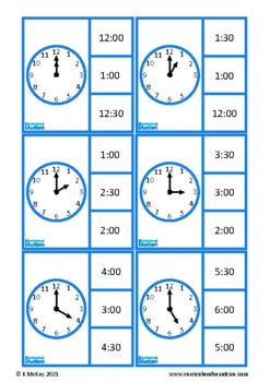 O'Clock& Half Past Telling the Time lip Cards, Autism Special Education Math