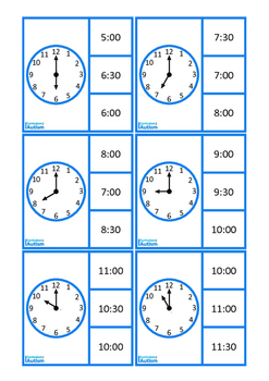 Telling Time O'Clock & 30 Past, Life Skills Math Autism Special Education