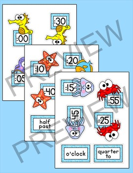 Ocean Theme Telling Time Clock Labels - Under the Sea Theme Classroom Decor