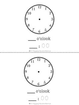 Telling Time On A Clock (O'clock) Matching Cards & Recording Booklet