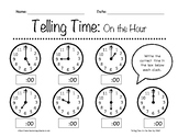 Telling Time: On the Hour Worksheets K-3rd Grade