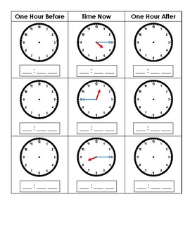 Telling Time - One Hour Before and One Hour After - Nearest 15 Minutes