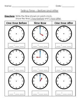 Telling Time - One Hour Before and One Hour After - Nearest Hour