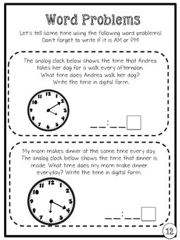 telling time packet second grade common core aligned tpt. Black Bedroom Furniture Sets. Home Design Ideas