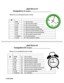 Telling Time Paired Activity in Spanish