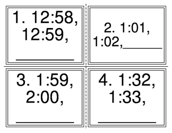 Telling Time Pattern Task Cards (36 Cards)