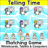 Telling Time Penguins Matching Game - Fun Winter Math Activity