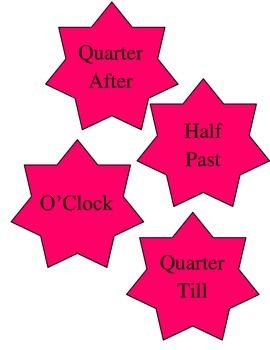 Telling Time  Decoration for Classroom Clock Pink Stars