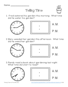 Telling Time - Plants FREEBIE