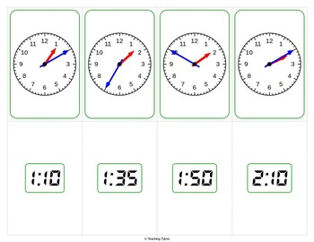 Telling Time 5 Minute Playing Cards