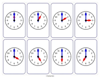 Telling Time Hour Playing Cards