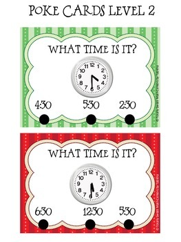 Telling Time Poke Card Center- 48 Cards!