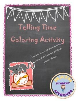 Telling Time Practice Fun Coloring Worksheet/Handout