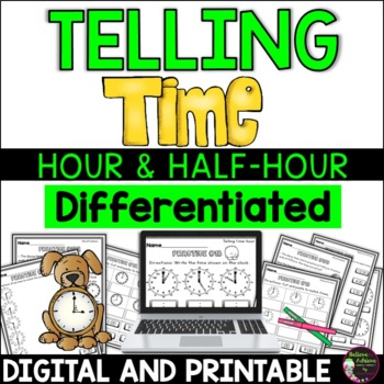 Telling Time Practice! Hour and Half Hour! 24 pages!