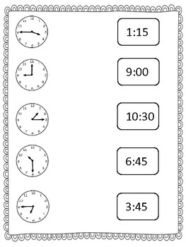 Telling Time Practice Pack