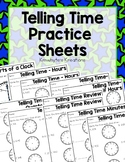 Telling Time Practice Sheets & Quizzes