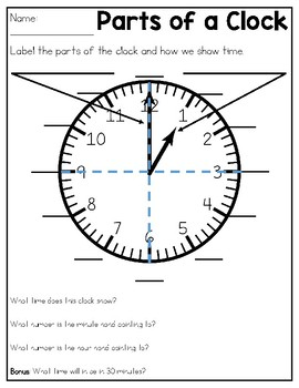 Worksheet Parts Of A Clock telling time practice sheets quizzes by kmwhytes kreations tpt quizzes
