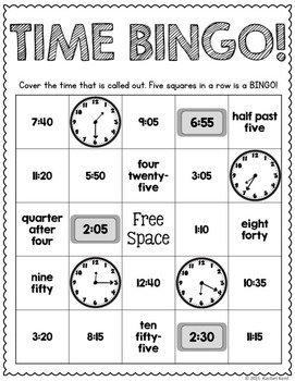 Telling Time Practice - To The Quarter Hour & 5 Minutes