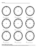 Telling Time Practice Worksheet with no hands Create Your Own Times