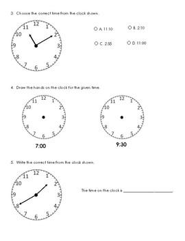 Telling Time PreTest