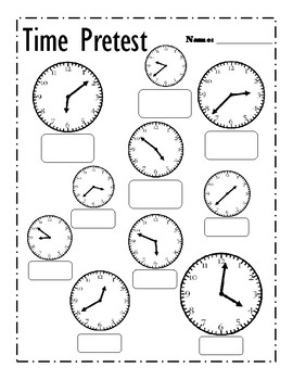 telling time pretest and post test by math animal tpt. Black Bedroom Furniture Sets. Home Design Ideas