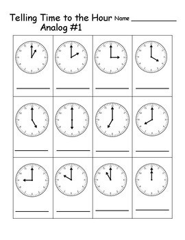 Telling Time Print and Go Pack