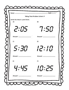 2nd grade telling time worksheets tell times to 5 minutes. Black Bedroom Furniture Sets. Home Design Ideas