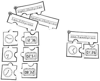 Telling Time Puzzle Task Cards