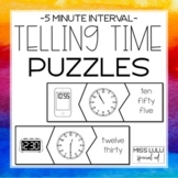 Telling Time Puzzles- 5 Minute Interval