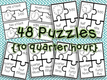 Telling Time Puzzles! {Time to Quarter Hour}