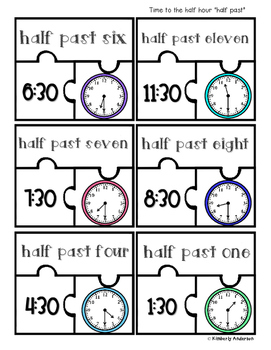 Telling Time Puzzles (Time to the Hour / Half Hour / Quarter To / Quarter Past)