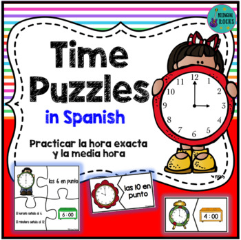 Telling Time Puzzles in Spanish {Hour & Half Hour Times}