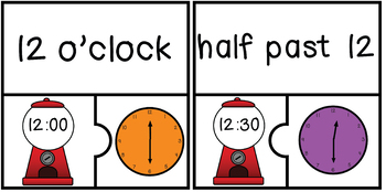 Telling Time Puzzles-to the hour and half hour
