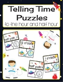 Telling Time Puzzles-to the hour and half hour-Space