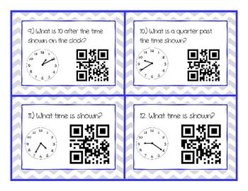 Telling Time QR Code Cards and/or Task Cards