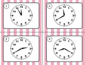 Telling Time Task Cards: Five Minute