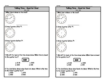 Telling Time Quarter Hour Exit Ticket
