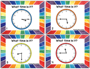 Telling Time Quarter-Hour Task Cards