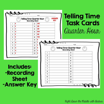 Telling Time Quarter Hour Task Cards