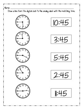Telling Time - Quarter Past & Quarter To Bundle