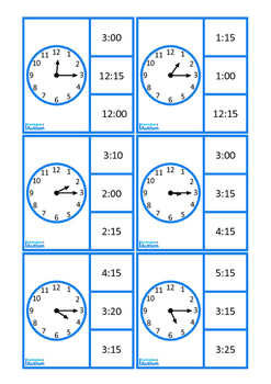 Autism Life Skills Telling Time Quarter Past & To, Special Education Math