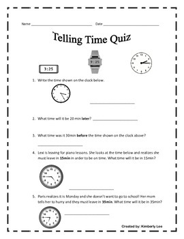 Telling Time Quiz