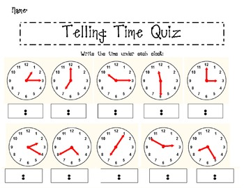 telling time quiz by the polka dotted classroom tpt. Black Bedroom Furniture Sets. Home Design Ideas