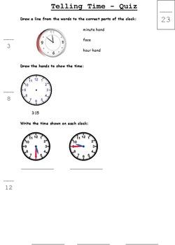 Telling Time Quiz - Grade 2