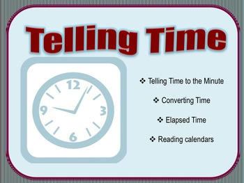 Telling Time & Reading Calendars Smart Notebook