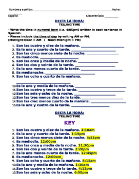 Telling Time Reading Comprehension Spanish