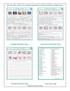 Telling Time Reading-Conversation-Writing Worksheets