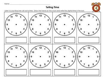 Telling Time Recording Page