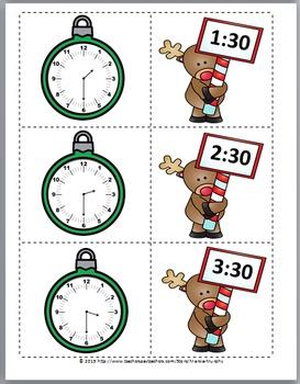 Telling Time to the Hour & Telling Time to the Half Hour -Christmas Math -Clocks
