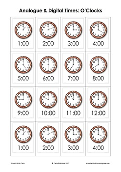 Telling Time Resources O Clocks Analogue Amp Digital